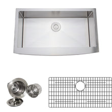 "Load image into Gallery viewer, Wells Sinkware 36"" 16-gauge Apron Front Farmhouse Single Bowl Stainless Steel Kitchen Sink w/ Grid Rack and Basket Strainer NCU3621-10-AAP-1"