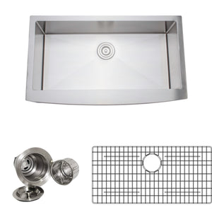 "Wells Sinkware 36"" 16-gauge Apron Front Farmhouse Single Bowl Stainless Steel Kitchen Sink w/ Grid Rack and Basket Strainer NCU3621-10-AAP-1"