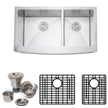 "Load image into Gallery viewer, Wells Sinkware 36"" 16-gauge Apron Front Farmhouse Single Bowl Stainless Steel Kitchen Sink w/ Grid Rack and Basket Strainer NCU3621-10L-AAP-1"