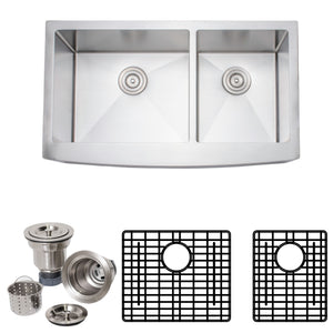 "Wells Sinkware 36"" 16-gauge Apron Front Farmhouse Single Bowl Stainless Steel Kitchen Sink w/ Grid Rack and Basket Strainer NCU3621-10L-AAP-1"