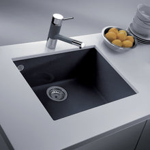 "Load image into Gallery viewer, LaToscana Plados 23"" x 18"" Single Basin Granite Undermount Sink in a Black Metallic ON6010ST-44"
