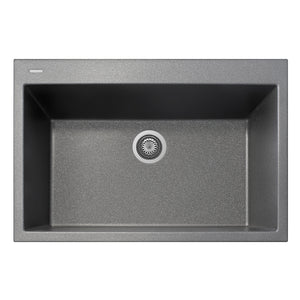 "LaToscana Plados 33"" x 22"" Single Basin Granite Drop-In Sink in a Titanium, Black Metallic, Milk White and Brown Finish"