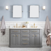 "Load image into Gallery viewer, Water Creation 60"" Palace Collection Quartz Carrara Cashmere Grey Bathroom Vanity Set with Hardware in Satin Gold Finish PA60A-0600CG"