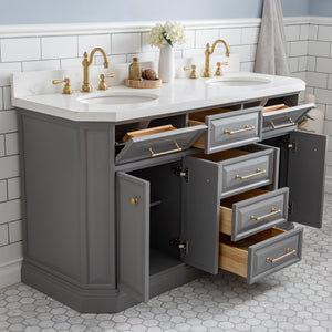 "Water Creation 60"" Palace Collection Quartz Carrara Cashmere Grey Bathroom Vanity Set with Hardware in Satin Gold Finish PA60A-0600CG"