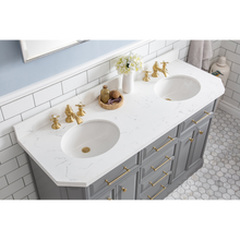 "Load image into Gallery viewer, Water Creation 60"" Palace Collection Quartz Carrara Cashmere Grey Bathroom Vanity Set with Hardware and F2-0013 Faucets in Satin Gold Finish and Only Mirrors in Chrome Finish PA60D-0613CG"