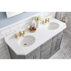 "Water Creation 60"" Palace Collection Quartz Carrara Cashmere Grey Bathroom Vanity Set with Hardware and F2-0013 Faucets in Satin Gold Finish and Only Mirrors in Chrome Finish PA60C-0613CG"