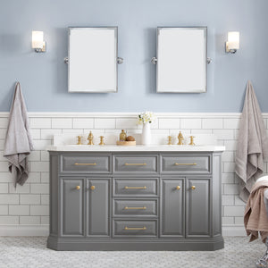 "Water Creation 60"" Palace Collection Quartz Carrara Cashmere Grey Bathroom Vanity Set with Hardware and F2-0013 Faucets in Satin Gold Finish and Only Mirrors in Chrome Finish PA60D-0613CG"