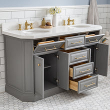 "Load image into Gallery viewer, Water Creation 60"" Palace Collection Quartz Carrara Cashmere Grey Bathroom Vanity Set with Hardware and F2-0013 Faucets in Satin Gold Finish and Only Mirrors in Chrome Finish PA60C-0613CG"