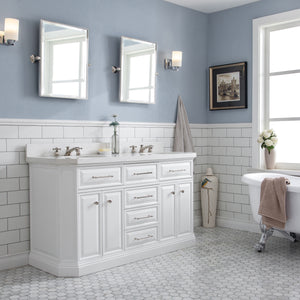 "Water Creation 60"" Palace Collection Quartz Carrara Pure White Bathroom Vanity Set with Hardware in Polished Nickel (PVD) Finish PA60A-0500PW"