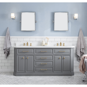 "Water Creation 72"" Palace Collection Quartz Carrara Cashmere Grey Bathroom Vanity Set with Hardware and F2-0013 Faucets in Satin Gold Finish and Only Mirrors in Chrome Finish PA72C-0613CG"