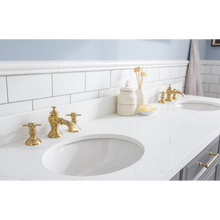 "Load image into Gallery viewer, Water Creation 72"" Palace Collection Quartz Carrara Cashmere Grey Bathroom Vanity Set with Hardware and F2-0013 Faucets in Satin Gold Finish and Only Mirrors in Chrome Finish PA72C-0613CG"
