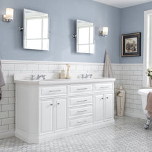 "Load image into Gallery viewer, Water Creation 72"" Palace Collection Quartz Carrara Pure White Bathroom Vanity Set with Hardware, Mirror in Chrome Finish PA72B-0100PW"