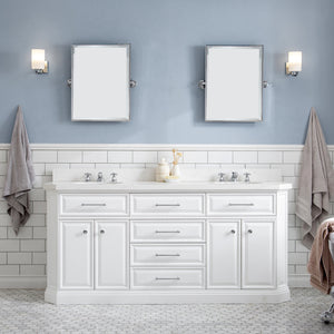 "Water Creation 72"" Palace Collection Quartz Carrara Pure White Bathroom Vanity Set with Hardware and F2-0009 Faucets, Mirror in Chrome Finish PA72D-0109PW"