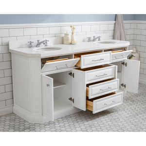 "Water Creation 72"" Palace Collection Quartz Carrara Pure White Bathroom Vanity Set with Hardware and F2-0009 Faucets in Chrome Finish PA72C-0109PW"
