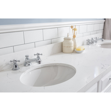 "Load image into Gallery viewer, Water Creation 72"" Palace Collection Quartz Carrara Pure White Bathroom Vanity Set with Hardware and F2-0009 Faucets in Chrome Finish PA72C-0109PW"