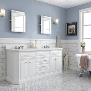 "Water Creation 72"" Palace Collection Quartz Carrara Pure White Bathroom Vanity Set with Hardware, Mirror in Polished Nickel (PVD) Finish PA72B-0500PW"