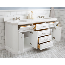"Load image into Gallery viewer, Water Creation 72"" Palace Collection Quartz Carrara Pure White Bathroom Vanity Set with Hardware, Mirror in Polished Nickel (PVD) Finish PA72B-0500PW"