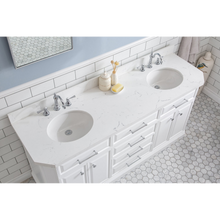 "Load image into Gallery viewer, Water Creation 72"" Palace Collection Quartz Carrara Pure White Bathroom Vanity Set with Hardware and F2-0012 Faucets in Chrome Finish PA72C-0112PW"