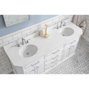 "Water Creation 72"" Palace Collection Quartz Carrara Pure White Bathroom Vanity Set with Hardware and F2-0012 Faucets in Chrome Finish PA72C-0112PW"