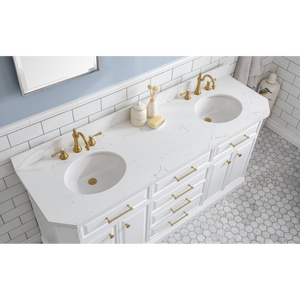 "Water Creation 72"" Palace Collection Quartz Carrara Pure White Bathroom Vanity Set with Hardware and F2-0012 Faucets in Satin Gold Finish and Only Mirrors in Chrome Finish PA72C-0612PW"