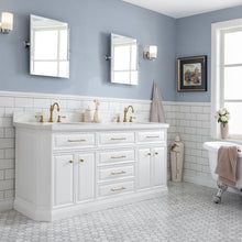 "Load image into Gallery viewer, Water Creation 72"" Palace Collection Quartz Carrara Pure White Bathroom Vanity Set with Hardware and F2-0012 Faucets in Satin Gold Finish and Only Mirrors in Chrome Finish PA72C-0612PW"