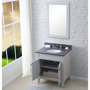 "Water Creation 30"" Earl Grey Single Sink Bathroom Vanity with Matching Framed Mirror From The Potenza Collection POTENZA30EGB"