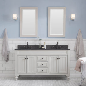 "Water Creation Potenza 60"" Bathroom Vanity in Earl Grey with Blue Limestone Top with Faucet and Small Mirror POTENZA60EGCF2"