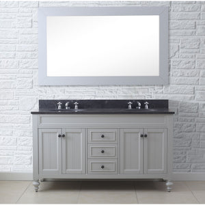 "Water Creation 60"" Earl Grey Double Sink Bathroom Vanity with Matching Framed Mirror From The Potenza Collection POTENZA60EGB"