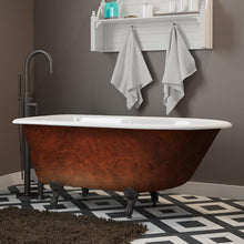 "Load image into Gallery viewer, Cambridge Plumbing Cast Iron Clawfoot Bathtub 55"" x 30"" Faux Copper Bronze Finish on Exterior with No Faucet Drillings and Oil Rubbed Bronze Feet RR55-NH-ORB-CB"
