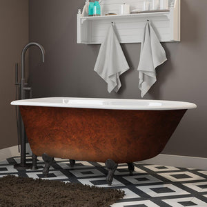 "Cambridge Plumbing Cast Iron Clawfoot Bathtub 55"" x 30"" Faux Copper Bronze Finish on Exterior with No Faucet Drillings and Oil Rubbed Bronze Feet RR55-NH-ORB-CB"