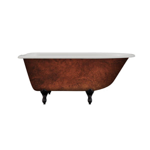 "Cambridge Plumbing Cast Iron Clawfoot Bathtub 55"" x 30"" Faux Copper Bronze Finish on Exterior w/ 7"" Deck Mount Faucet Drillings and Oil Rubbed Bronze Feet RR55-DH-ORB-CB"