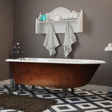 "Load image into Gallery viewer, Cambridge Plumbing Cast Iron Clawfoot Bathtub 61"" x 30"" Faux Copper Bronze Finish on Exterior with 7"" Deck Mount Faucet Drillings and Oil Rubbed Bronze Feet RR61-DH-ORB-CB"