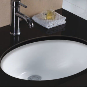 "Wells Sinkware 19"" Oval Undermount Single Bowl Bathroom Sink in White RTU1916-6W"