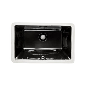 "Wells Sinkware 20"" x 15"" Rectangular Undermount Single Bowl Bathroom Sink in Ebony RTU2015-6E"