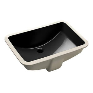 "Wells Sinkware 21"" x 14"" Rectangular Undermount Single Bowl Bathroom Sink in Ebony"