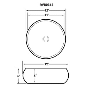 "Ruvati 12"" Bathroom Vessel Sink Round White Circular Above Counter Porcelain Ceramic - RVB0312"