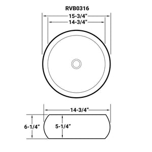 "Ruvati 16"" Bathroom Vessel Sink Round White Above Counter Circular Porcelain Ceramic - RVB0316"