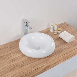 "Ruvati 18"" Round Bathroom Vessel Sink White Above Vanity Counter Circular Porcelain Ceramic - RVB0318"