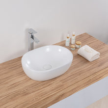 "Load image into Gallery viewer, Ruvati 19"" x 14"" Bathroom Vessel Sink White Oval Above Counter Vanity Porcelain Ceramic - RVB0419"