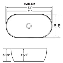"Load image into Gallery viewer, Ruvati 32"" x 16"" Bathroom Vessel Sink White Oval Above Counter Vanity Porcelain Ceramic - RVB0432"