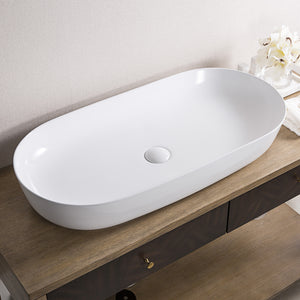 "Ruvati 32"" x 16"" Bathroom Vessel Sink White Oval Above Counter Vanity Porcelain Ceramic - RVB0432"