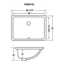 "Load image into Gallery viewer, Ruvati 20"" x 15"" Undermount Bathroom Sink White Rectangular Porcelain Ceramic with Overflow - RVB0720"