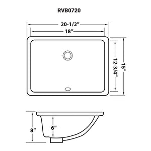 "Ruvati 20"" x 15"" Undermount Bathroom Sink White Rectangular Porcelain Ceramic with Overflow - RVB0720"