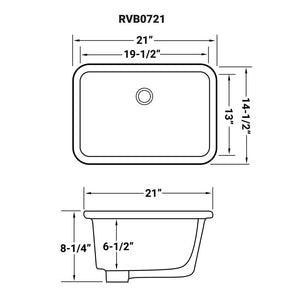 "Ruvati 19"" x 13"" Undermount Bathroom Vanity Sink White Rectangular Porcelain Ceramic with Overflow - RVB0721"