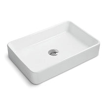 "Load image into Gallery viewer, Ruvati 24"" x 16"" Bathroom Vessel Sink White Rectangular Above Counter Porcelain Ceramic - RVB2416"