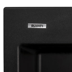 "Ruvati 22"" x 20"" epiGranite Dual-Mount Granite Composite Single Bowl Kitchen Sink - Midnight Black RVG1022BK"