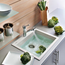 "Load image into Gallery viewer, Ruvati 23"" x 20"" epiGranite Dual-Mount Granite Composite Single Bowl Kitchen Sink - Arctic White RVG1023WH"