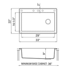 "Load image into Gallery viewer, Ruvati 33"" x 22"" Granite Composite Dual Mount Single Bowl Kitchen Sink - RVG1033"