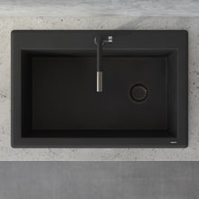 "Load image into Gallery viewer, Ruvati 33"" x 22"" Granite Composite Dual Mount Single Bowl Kitchen Sink Midnight Black RVG1033BK"