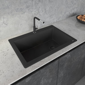 "Ruvati 33"" x 22"" Granite Composite Dual Mount Single Bowl Kitchen Sink Midnight Black RVG1033BK"